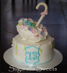 Super cute umbrella cake topper. Perfect for a little girls birthday party or even a baby shower cake. For more ideas go to www.SugarellaSweets.com