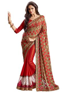 Red And Taupe Half And Half Saree