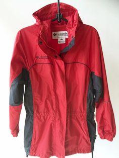 Columbia Red Windbreaker Hooded Ski Jacket Shell Mesh Nylon Liner Women's M #Columbia #Windbreaker