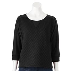 Apt. 9® Quilted Cropped French Terry Sweatshirt - Women's