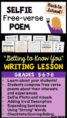 "Motivate your students with this fun, ""Getting to Know You"" Writing Lesson, perfect for Beginning of the Year! Students create free verse poems about themselves and their interests while gaining practice with descriptive language and elaboration. Final student pieces, which include visuals and a ""selfie"" photo, make a classroom display students LOVE to look at!"