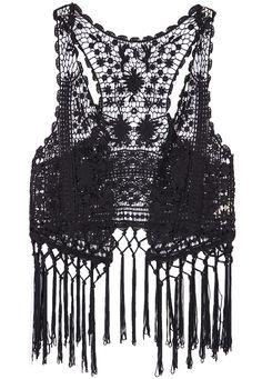 Black Sleeveless Hollow Tassel Lace Vest 14.17