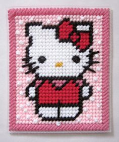 Hello Kitty tissue box cover in plastic canvas by AuntCCcreations, $3.00 hello kitti, craft, canva pattern, tissue boxes, plastic canvas patterns, tissue box covers, hello kitty, canvases, tissu box