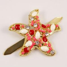 Επίχρυσος Αστερίας Σμάλτο 2.8cm Brooch, Jewelry, Fashion, Moda, Jewlery, Bijoux, Fashion Styles, Brooches, Schmuck