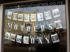Mother's day window - lovely idea - simple to implement and gives a personal feel. Run a competition for your customers to feature photos of their Mothers. my lovely Auntie Janet lives on Waiheke Island too : ) Salon Window Display, Window Display Retail, Retail Windows, Store Windows, Display Windows, Dw Shop, Decoration Vitrine, Boutique Deco, Tents