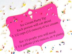 Tiffzippy ice cream party tip. Printed on ice cream note card