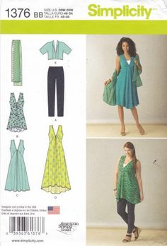 Simplicity Sewing Pattern 1376 Womens Plus Sizes 20W-28W Wardrobe jacket Dress Leggings