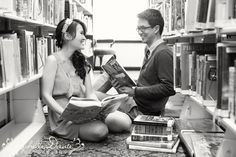 Love this engagement shoot at a library by Richelle Danta Photography.