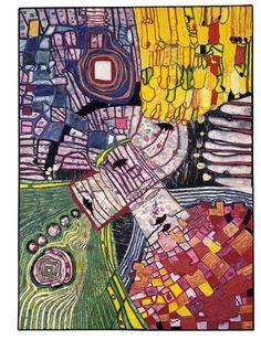 994 The Four Antipodes - Friedensreich Hundertwasser Friedensreich Hundertwasser, Paul Klee, Norman Rockwell, Gustav Klimt, Mondrian, Keith Haring, Modern Art, Contemporary Art, Tachisme