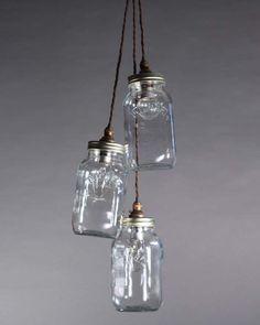 £180 for 3 jar cluster or £60 for single jar. 1m Mason Jar Pendant Light