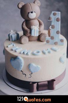 Cake 1 Year Boy, 1 Year Old Birthday Cake, Teddy Bear Birthday Cake, Boys First Birthday Cake, Baby Birthday Cakes, 1 Year Old Cake, Baby Girl Cakes, Baby Shower Cakes For Boys, Cake Baby