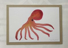 Hand Painted Watercolor Octopus Greeting Card one by thebeeandbug
