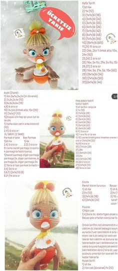 Amigurumi Doll Pika Bebek Ücretsiz Tarif – Free Pattern – My CMS Crochet Doll Pattern, Crochet Patterns Amigurumi, Baby Knitting Patterns, Amigurumi Doll, Crochet Dolls, Doll Patterns, Amigurumi For Beginners, Knitting For Beginners, Animal Templates