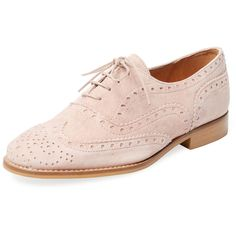 Marabelle Women's Wingtip Oxford - Pink - Size 7 ($70) ❤ liked on Polyvore featuring shoes, oxfords, pink, oxford lace up shoes, lace up oxfords, leather wingtip shoes, wing tip oxfords and low heel shoes