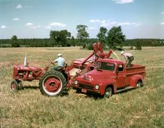 Pic from 1952. Farmers harvesting grain with a McCormick Farmall Super C tractor, combine (harvester-thresher) and International LM-120 truck. The McCormick Farmall Super C tractor was produced from 1951-1954. International LM-120 trucks were produced between 1949 and 1953.