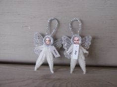 Items similar to 2 chenille decorations antique doll paper face vintage style Chenille Christmas fairy angel tree decorations ornament primitive Shabby chic on Etsy Vintage Christmas Crafts, Christmas Fairy, Victorian Christmas, Diy Christmas Ornaments, Christmas Angels, Holiday Crafts, Christmas Poinsettia, Vintage Crafts, Christmas 2017