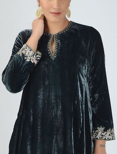 Black Silk Velvet Kurta with Embroidered Sleeves