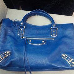 Balenciaga metallic edge royal blue