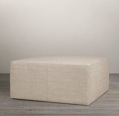 Amry Duck in Sand $520 Cooper Upholstered Square Ottoman | Ottomans | Restoration Hardware