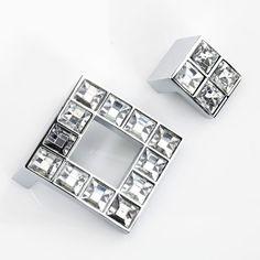 Glass Drawer Knobs Pulls Handles Dresser Knobs Handles/ Sparkle Clear  Crystal Grid Cabinet Knobs Handle