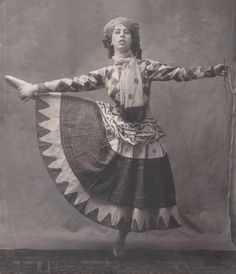 Bronislava Nijinska in 'Petrouchka' (Ballets russes de Diaghilev), 1911 -Attributed to Eugène Atget [Nijinska was the first woman choregrapher in the history of dance]