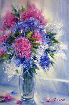 Still life oil painting on canvas Floral original paintings canvas Still life with flowers painting Lilac bouquet Contemporary wall art