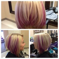 Blonde bob with pink