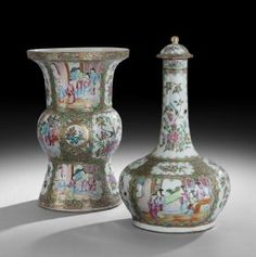 """Chinese Rose Medallion Baluster Vase and Guglet, the baluster vase mid-19th century and beautifully detailed with alternating panels of mandarin scenes, h. 13"""", dia. 8-1/2""""; the guglet and cover fourth quarter 19th century, h. 15-1/2"""", dia. 7-1/2""""."""