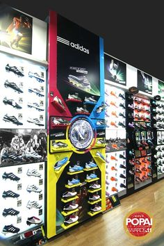 A vibrant shoe wall sure to garner attention at Adidas.