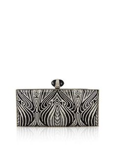 V2ZJN Judith Leiber Couture Large Coffered Rectangle Clutch Bag, Silver Jet Multi