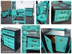 Painted and stenciled furniture using the Antico Stencil from Cutting Edge Stencils. http://www.cuttingedgestencils.com/antico-allover-wall-pattern.html