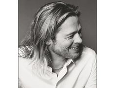 @Byrdie Beauty - Brad Pitt's always favored a shaggy do, but this Esquire shoot from last summer struck a happy balance between Legends of the Fall-Brad and Oceans 12-Brad.