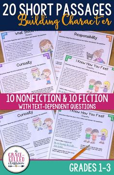 If you are looking for character education lessons for elementary students, you can use these nonfiction and fiction passages as support. Students will read about 10 nonfiction passages about different character traits and then read a paired fictional text to go with it. #character education