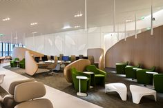 great look for an airport lounge... 'air france lounge' by noé duchaufour-lawrance charles de gaulle airport in paris, france. all images courtesy of luc boegly