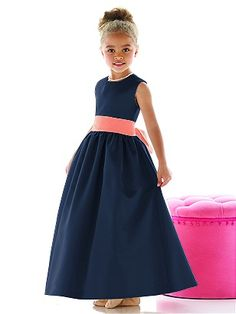 Mackenzie's flower girl dress-navy with coral sash  Make it a cream sash and we're good to go