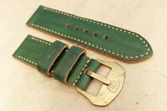 26mm Handmade Vintage Leather Watch Strap for Panerai Diver Watches + Custom Made Brass Ammo Sewn-in Buckle Dark Brown Green