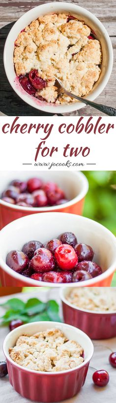 Cherry Cobbler for Two - for when you need something sweet just for you and your sweetheart. Simple and quick to make.