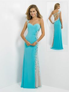 2014 New Arrival Sexy One Shoulder Crystal Blue Prom Dresses Backless Long For Special Occasion Dresses