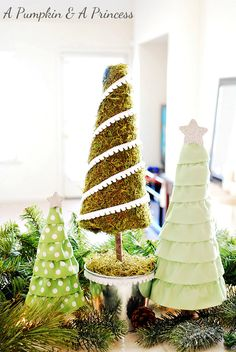 Easy DIY Moss and Ruffled Christmas Trees