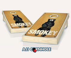 """Retro Stained Smokey"" Cornhole Set Product Details | AJJ Cornhole"