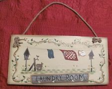 quilt wood sign | Laundry Room Clothesline Quilt Birdhouse Rope Hanger Wood Sign #434