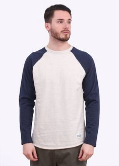 Norse Projects Aske Perforated LS Tee - Ecru / Navy