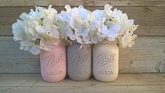Pink and Gray Nursery Decor,Pink and Gray Baby Shower Decor, Pink and Grey Mason Jars,Painted Mason Jars,Shabby Chic,Mason Jars with Flowers by GodGirlsandGlitter on Etsy https://www.etsy.com/listing/262650953/pink-and-gray-nursery-decorpink-and-gray