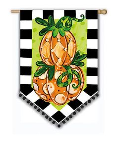 Tom's Pumpkin Topiary Flag by Evergreen on #zulily #pumpkin #yard #lawn #flag #banner #pennant #bunting #fall #autumn #thanksgiving #halloween #checkered #harlequin #black #white #green #orange #decor #ornament #decoration