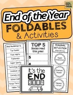 End of the Year Foldables with tons of choices and variety.  Great for lap books, mining work, and more!