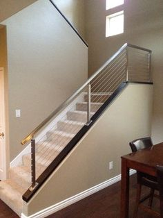 Cable Railings On A Custom Straight Staircase. Visit SouthernStaircase.com  To Learn More About The Industry Leader In Staircase Design, Productiu2026