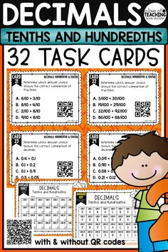 32 Decimals Task Cards which include reading, writing, and comparing tenths and hundredths to help your students review decimal skills. Perfect for review, Scoot game, math center, assessment tool, or test prep! Math Skills Included:  •decimal and fraction of a shaded part •representing fractions as decimals •representing decimals as fractions •representing decimals and fractions in word form •decimals and fractions on a number line - and more!  This product is aligned to 4.NF.6, 4.NF.7