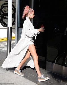 Get easy breezy like Hailey in a perforated suede coat by August Getty   Click 'visit' to buy it now  #DailyMail