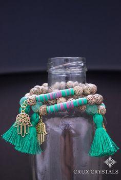 Lotus Seed Yoga Mala Tassel Bracelet w/ Mint by CruxCrystals