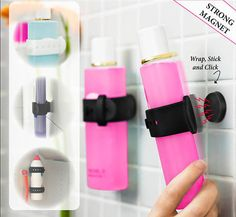 Wrap and Hang your shampoo bottle on powerful wall magnets. Incl. 2 straps and 2 powerfull wall magnets. Easy to instal, No holes on wall.l